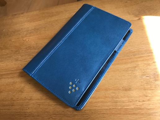 青い革の手帳カバー ぶどう