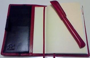 赤と黒の手帳カバー